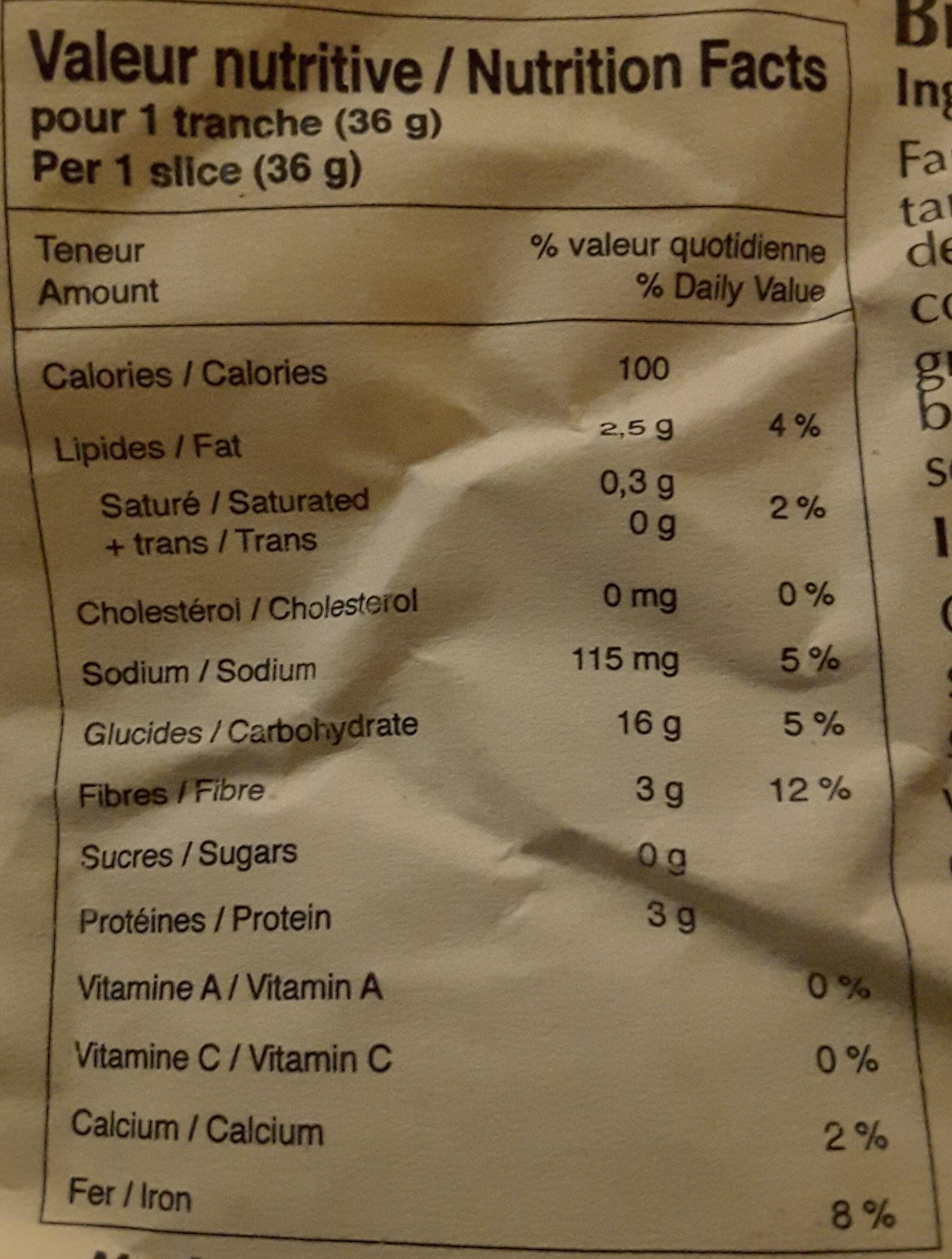 6 Grains - Nutrition facts - fr