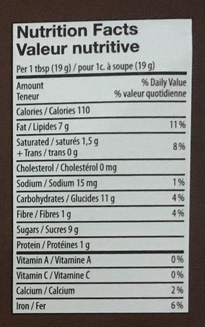 Truffe à tartiner - Informations nutritionnelles