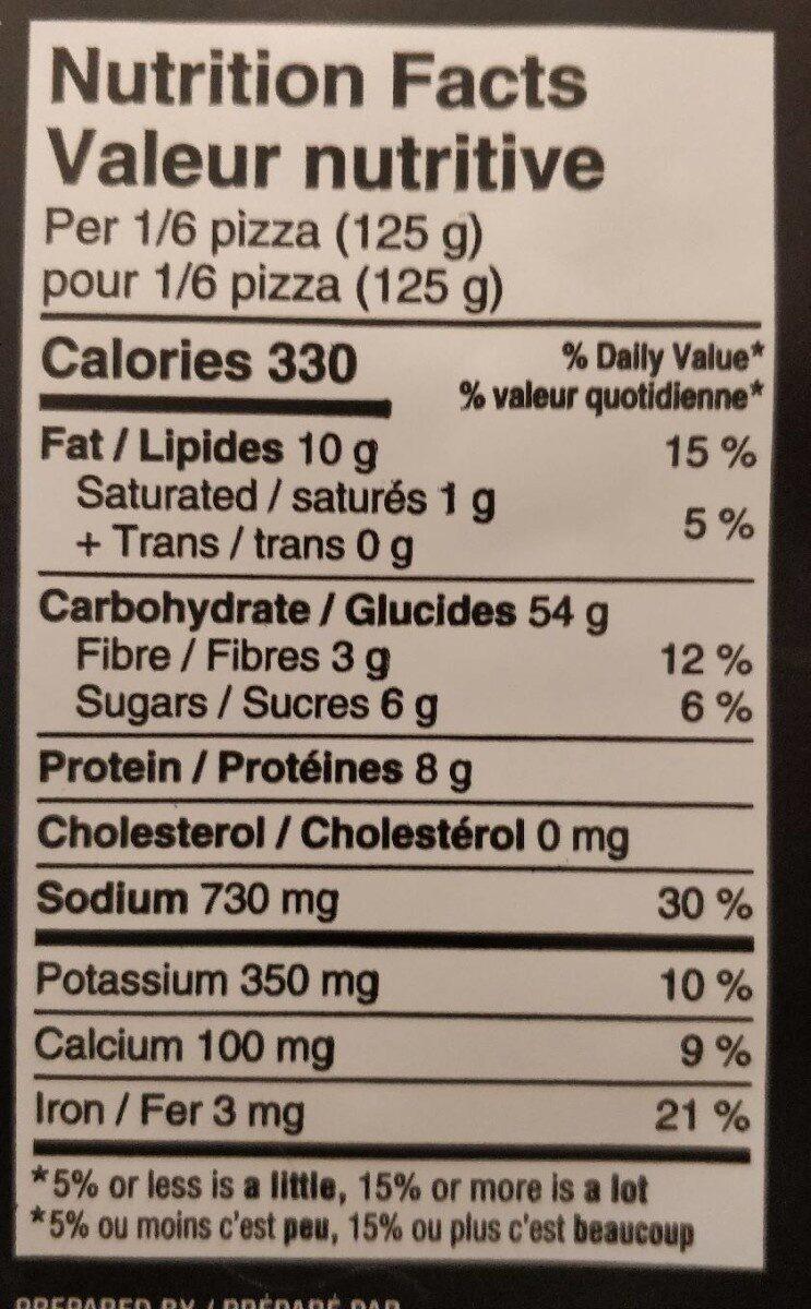 Pizza traditionnelle aux tomates - Nutrition facts - fr