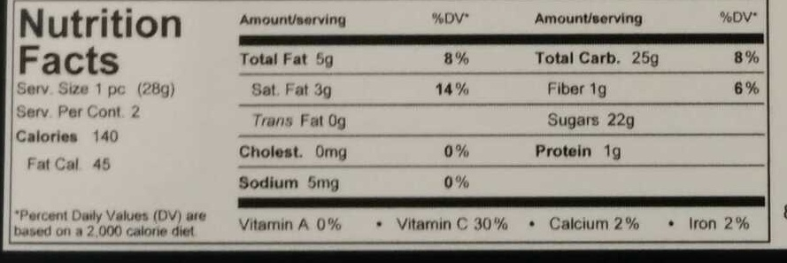 Chocolat Dipped Oranges - Nutrition facts
