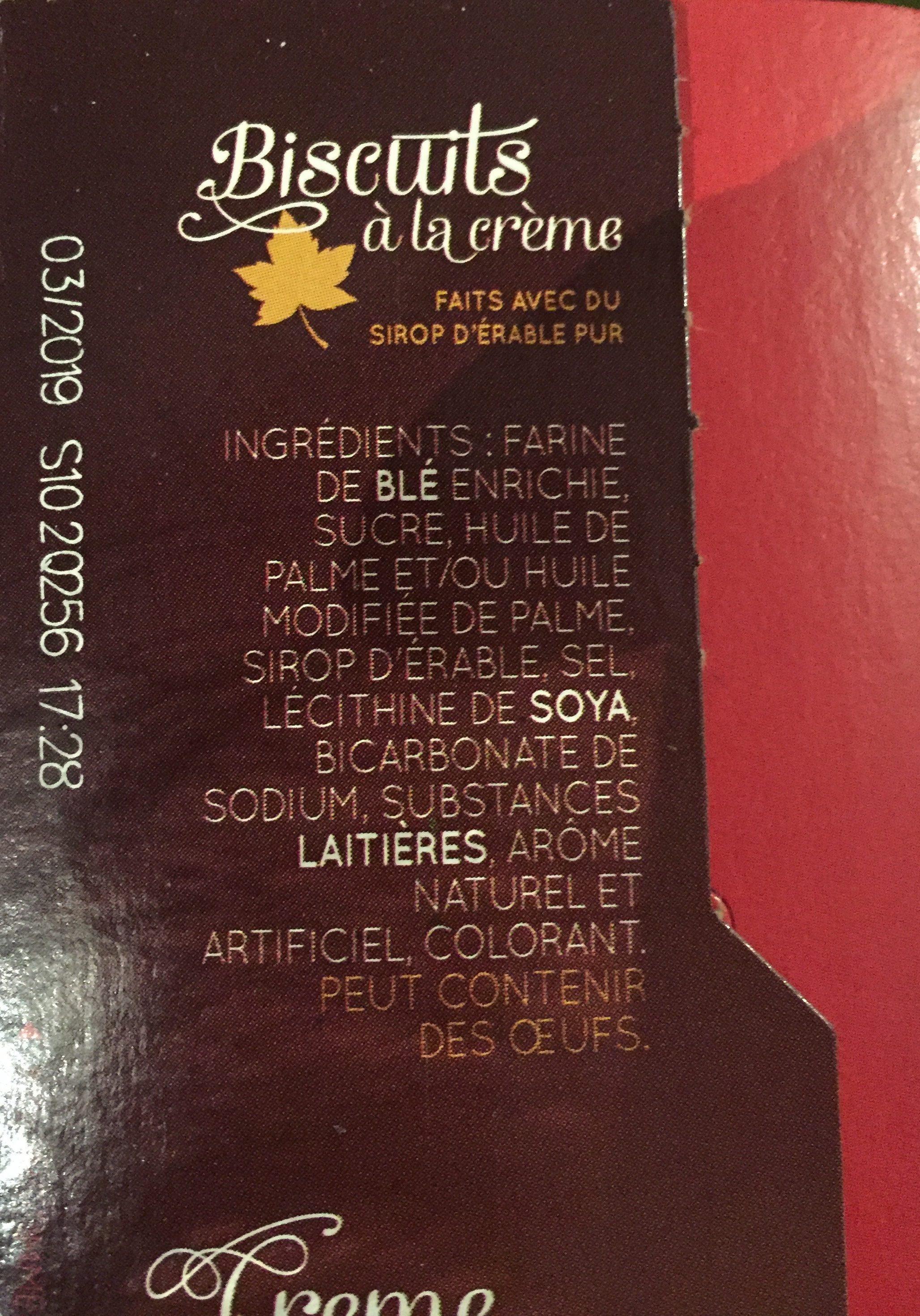 Feuille d'érable, biscuits à la crème - Ingrediënten - fr