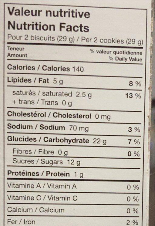 Feuille d'érable, biscuits à la crème - Voedingswaarden - fr