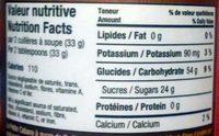 Beurre d'érable - Nutrition facts - fr
