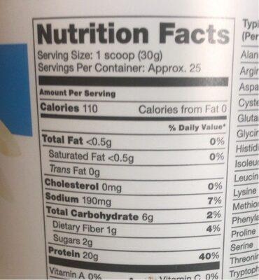 Protein and green vanilla flavor - Nutrition facts - en