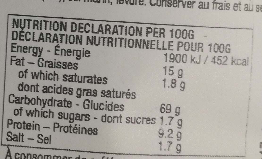 Foccaci Classic - Informations nutritionnelles - fr