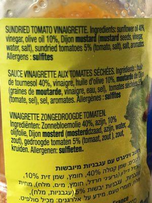 Sauce vinaigrette tomates sechees - Ingrédients
