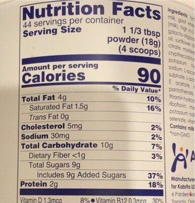 Goat Milk Toddler Formula Powder - Valori nutrizionali - en