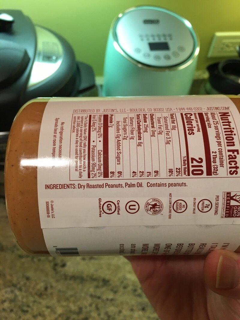Justin's peanut butter - Ingredients - es