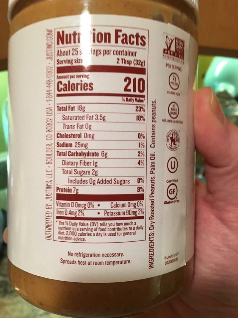 Justin's peanut butter - Información nutricional - es
