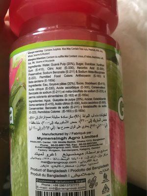 Guava - Boisson à base de Goyave - Informations nutritionnelles - fr
