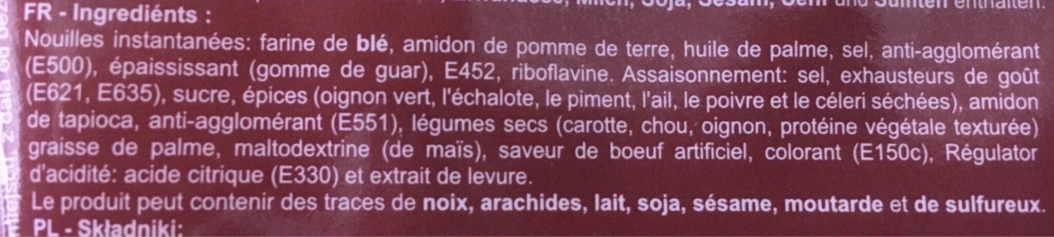 Soupe Noodles Beef - Zutaten - fr