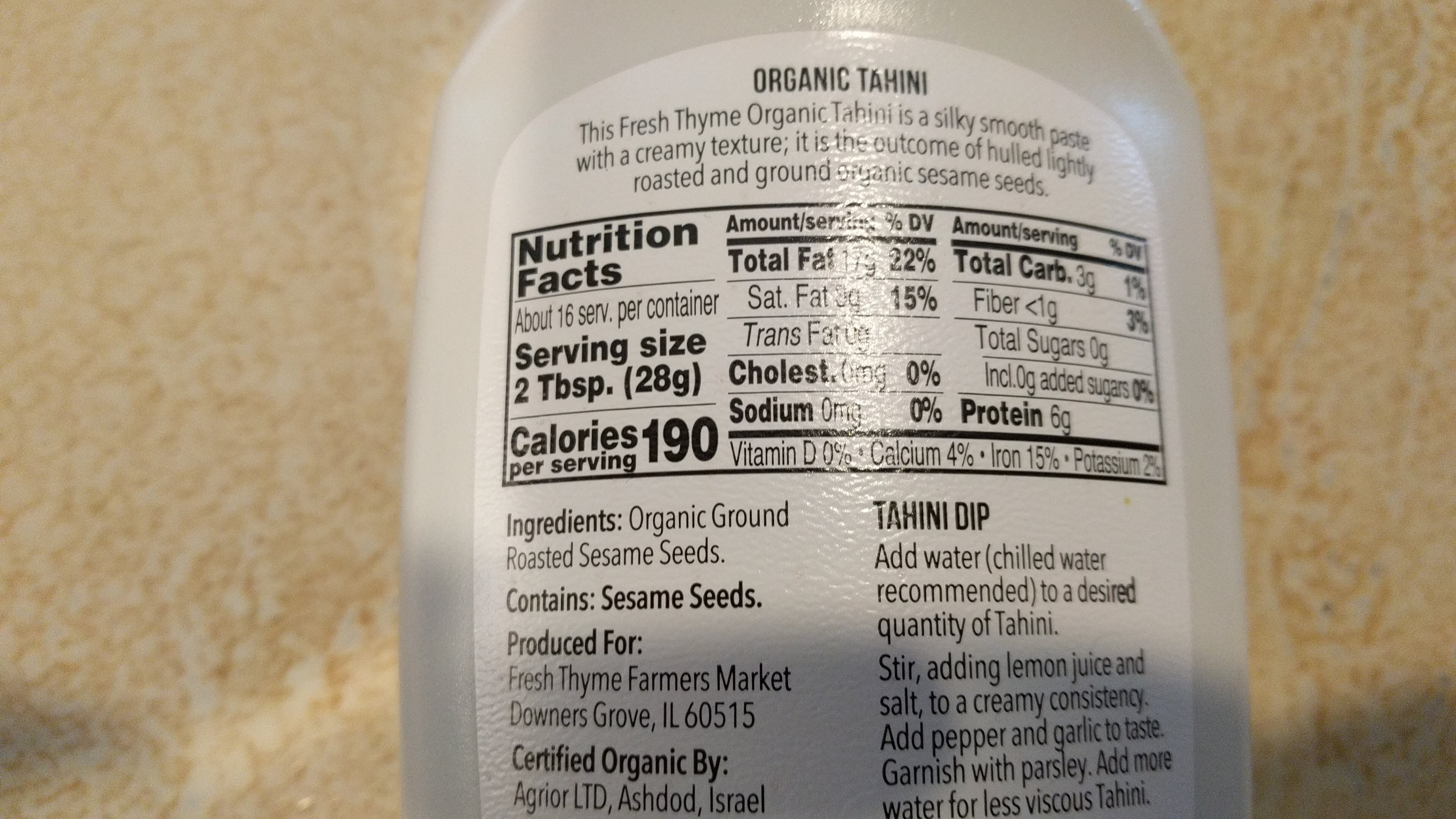 Organic Tahini - Nutrition facts - en