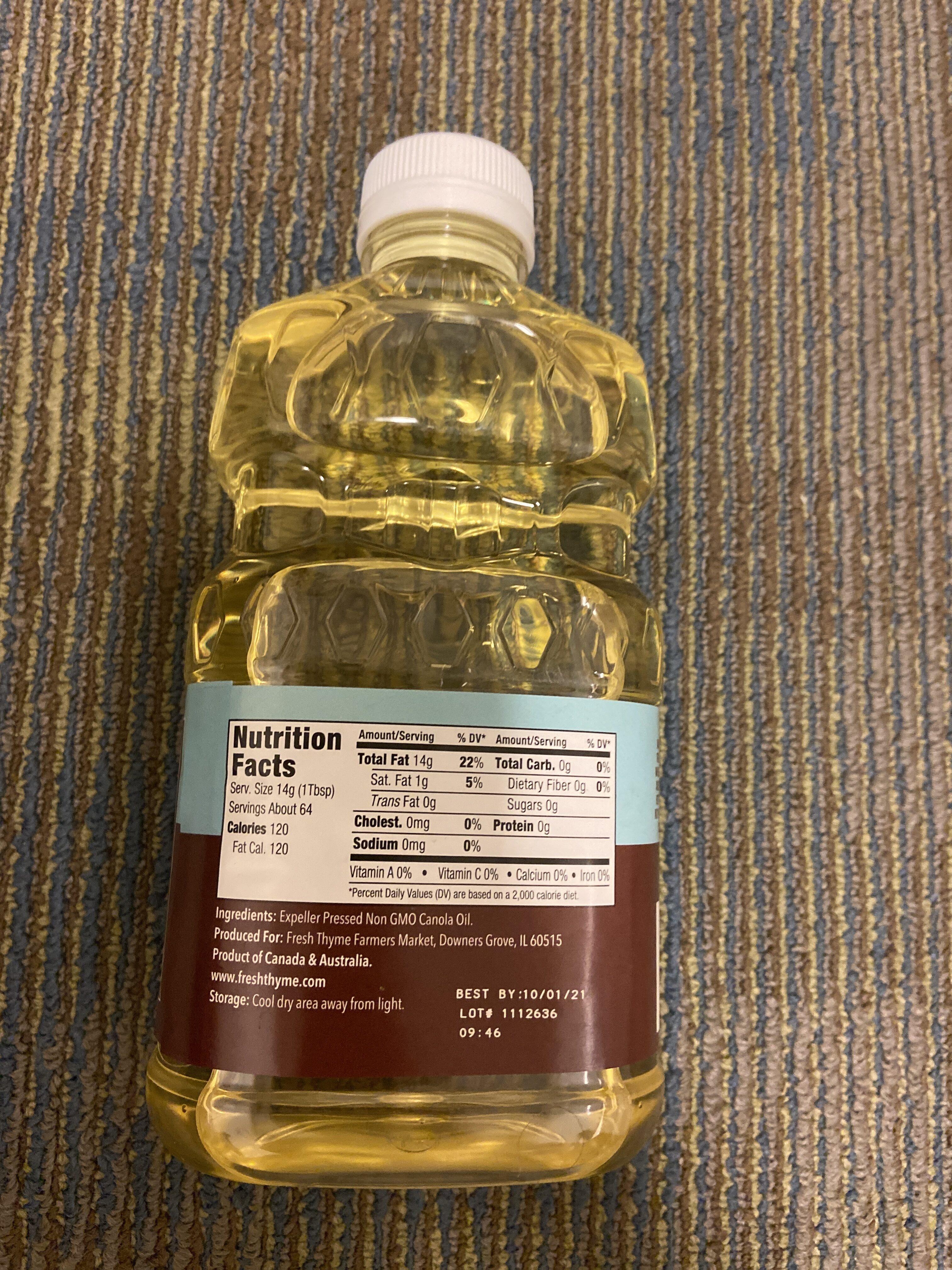 Canola Oil - Expeller Pressed - Nutrition facts - en