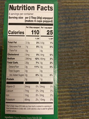 Fresh Thyme Organic Microwave Popcorn - Nutrition facts