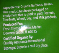 Organic Garbanzo Beans - Ingredients