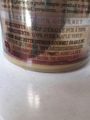crème de sirop d'érable - Ingredients - fr