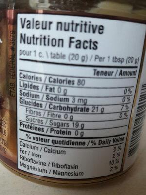 crème de sirop d'érable - Nutrition facts