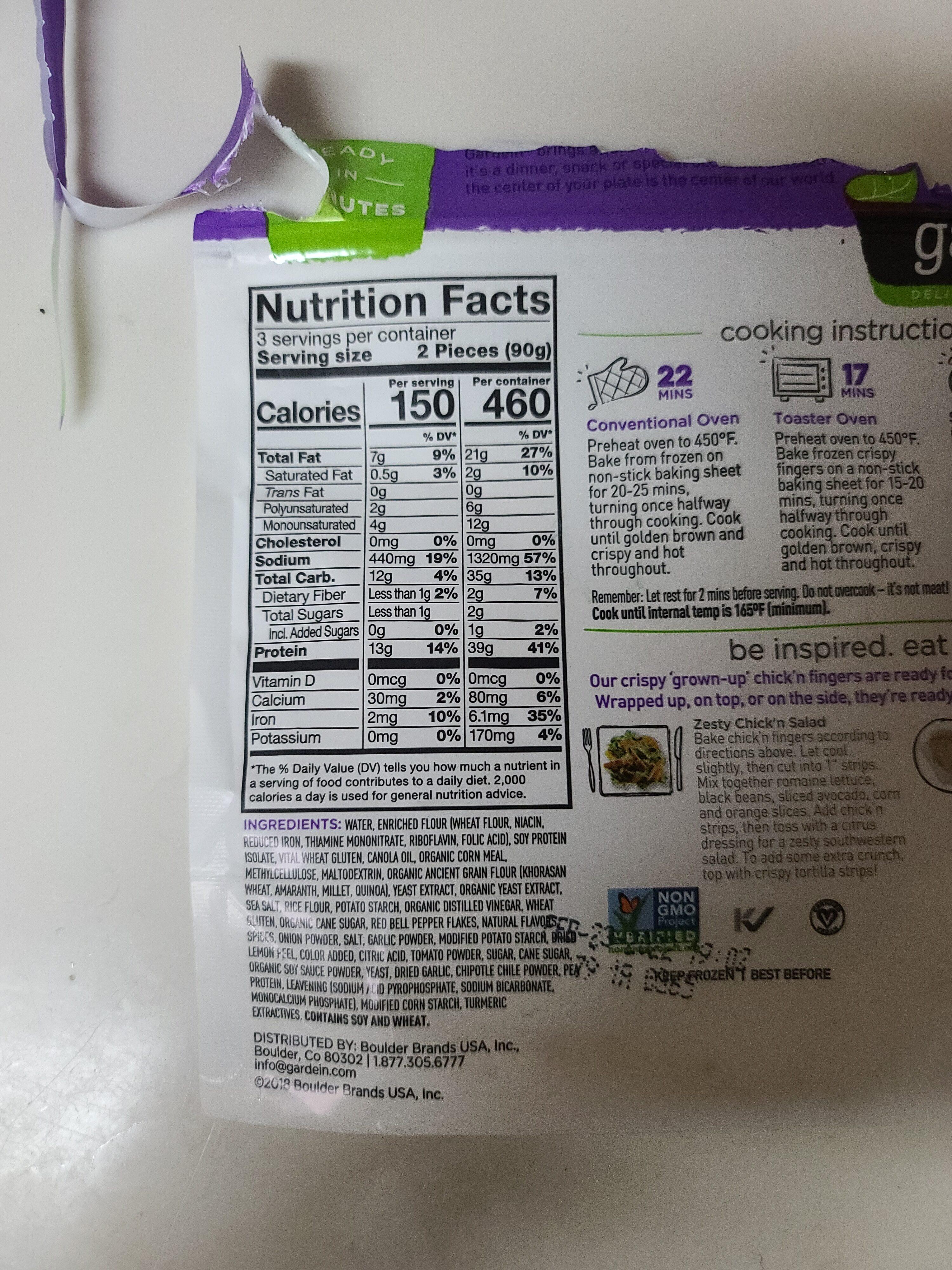 Gardein, crispy fingers, chipotle, lime - Nutrition facts - en