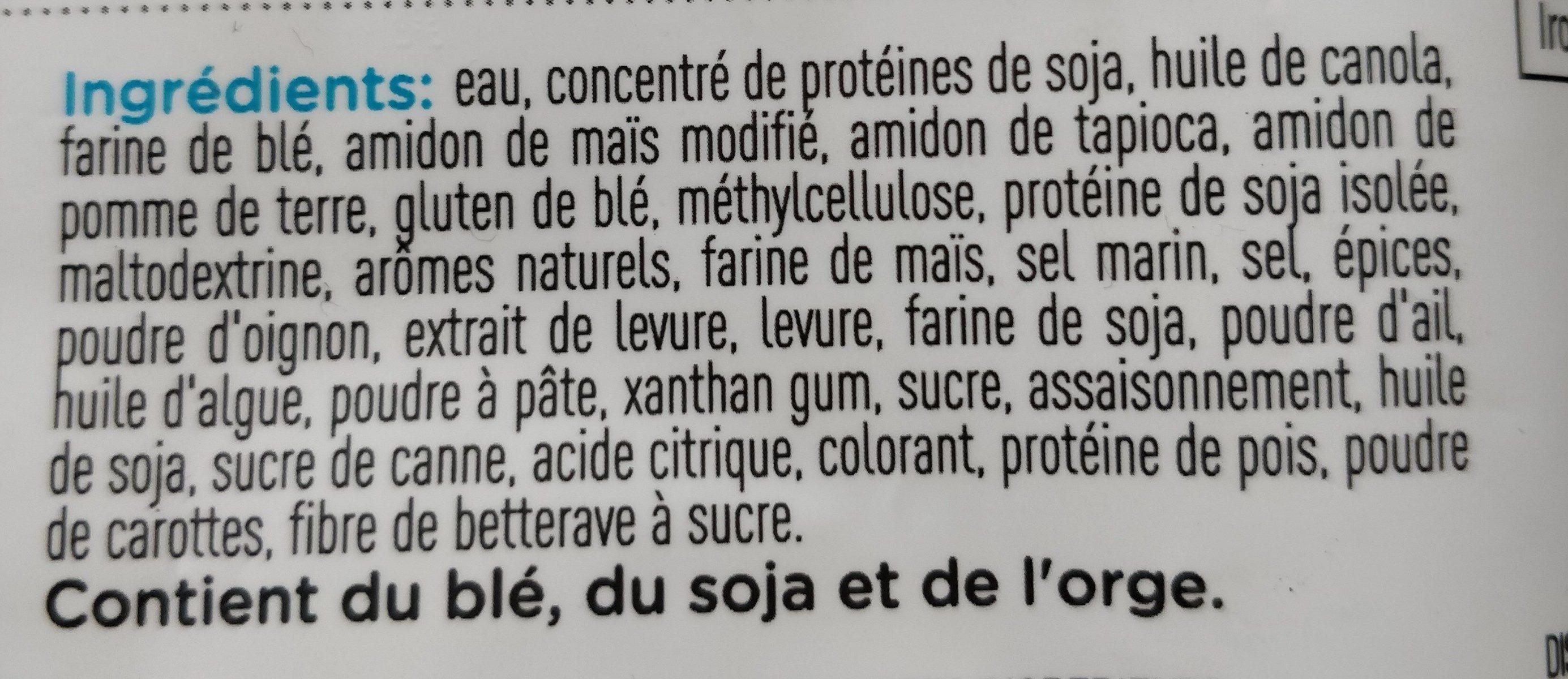 Filets végés - Ingredients