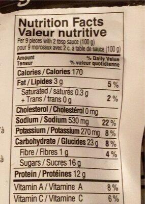 Bouchées de vrégé-porc - Nutrition facts - en