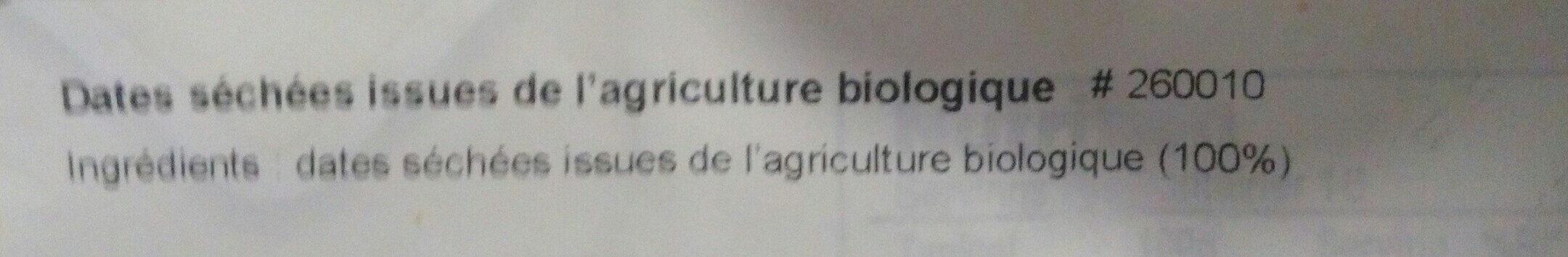 Organic pitted dates - Ingredienti - fr
