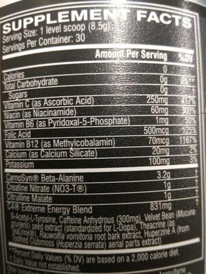 C4 Extreme Energy - Nutrition facts - en