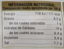 Croquetas de espinacas - Información nutricional
