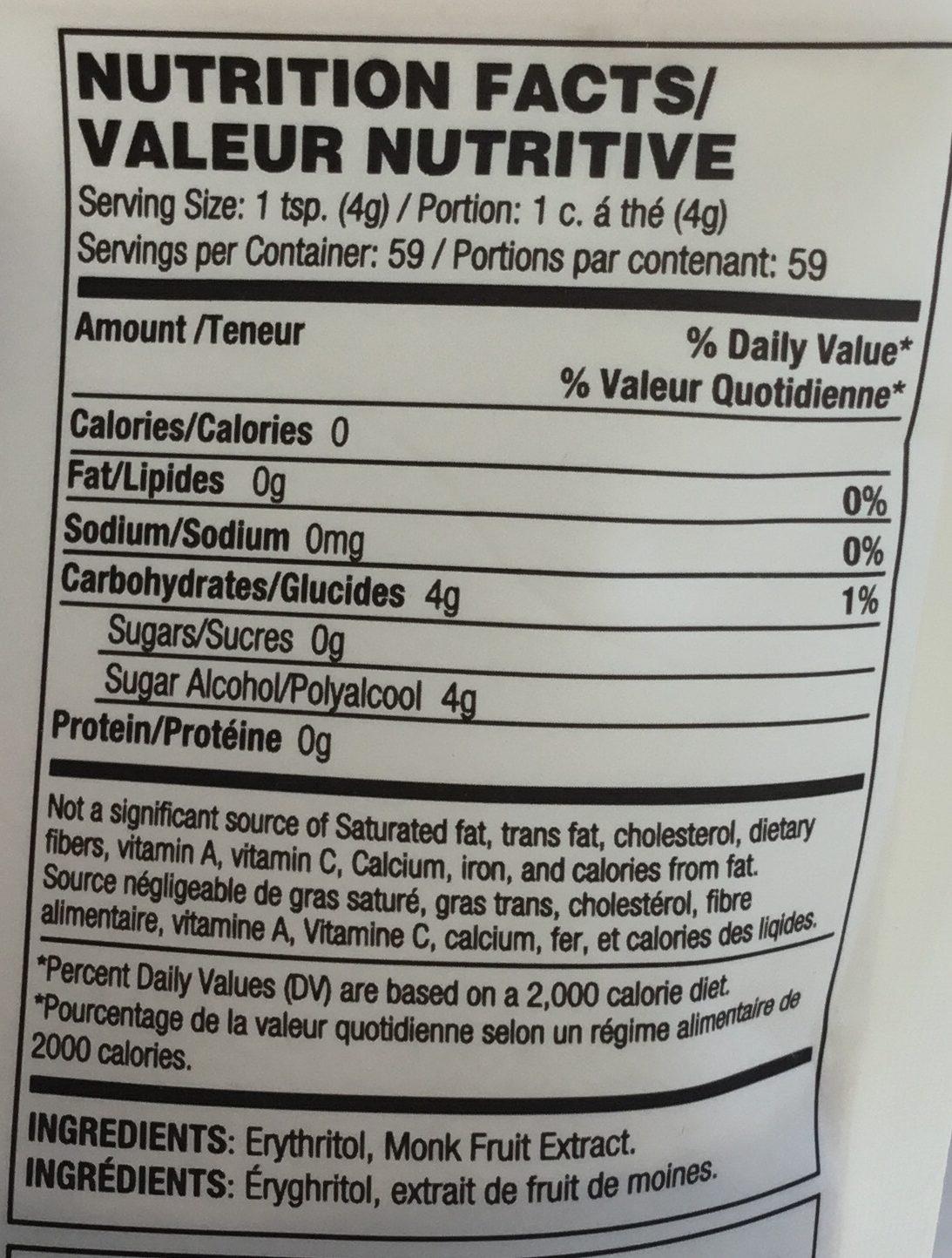 Édulcorant de table - Informations nutritionnelles