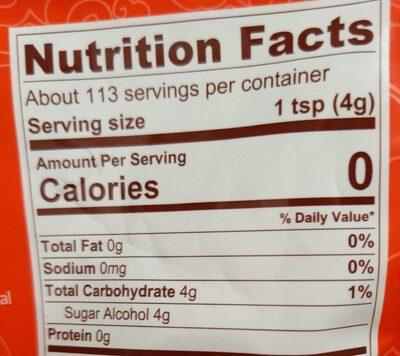 Monkfruit sugar substitute keto non-gmo classic white - Nutrition facts - en