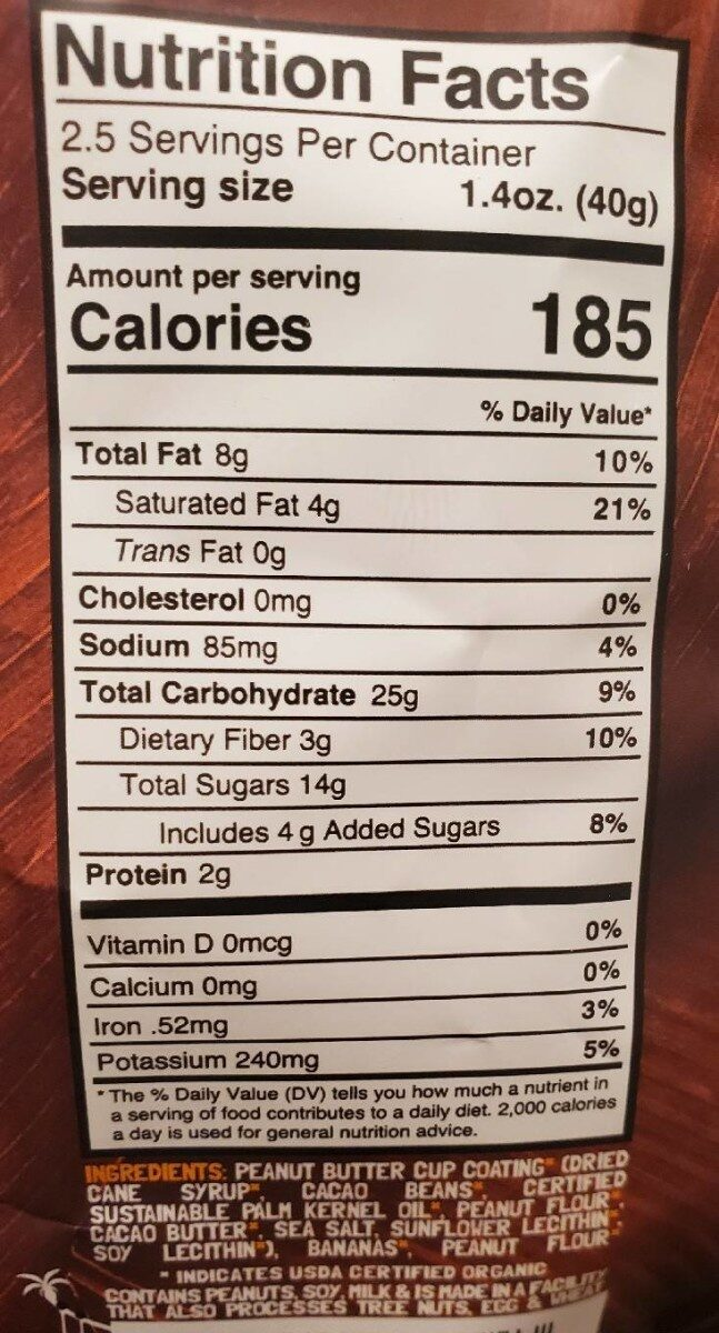 Organic Chewy Banana Bites (Dark Chocolate Peanut Butter Cup) - Nutrition facts - en