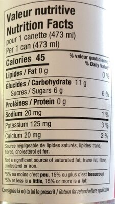 Météorite - Nutrition facts - fr