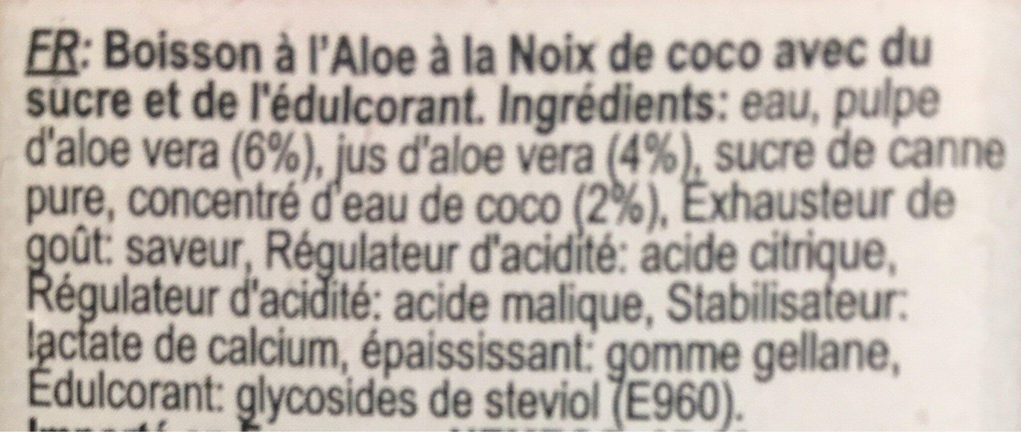 Vivaloe - Ingrediënten - fr