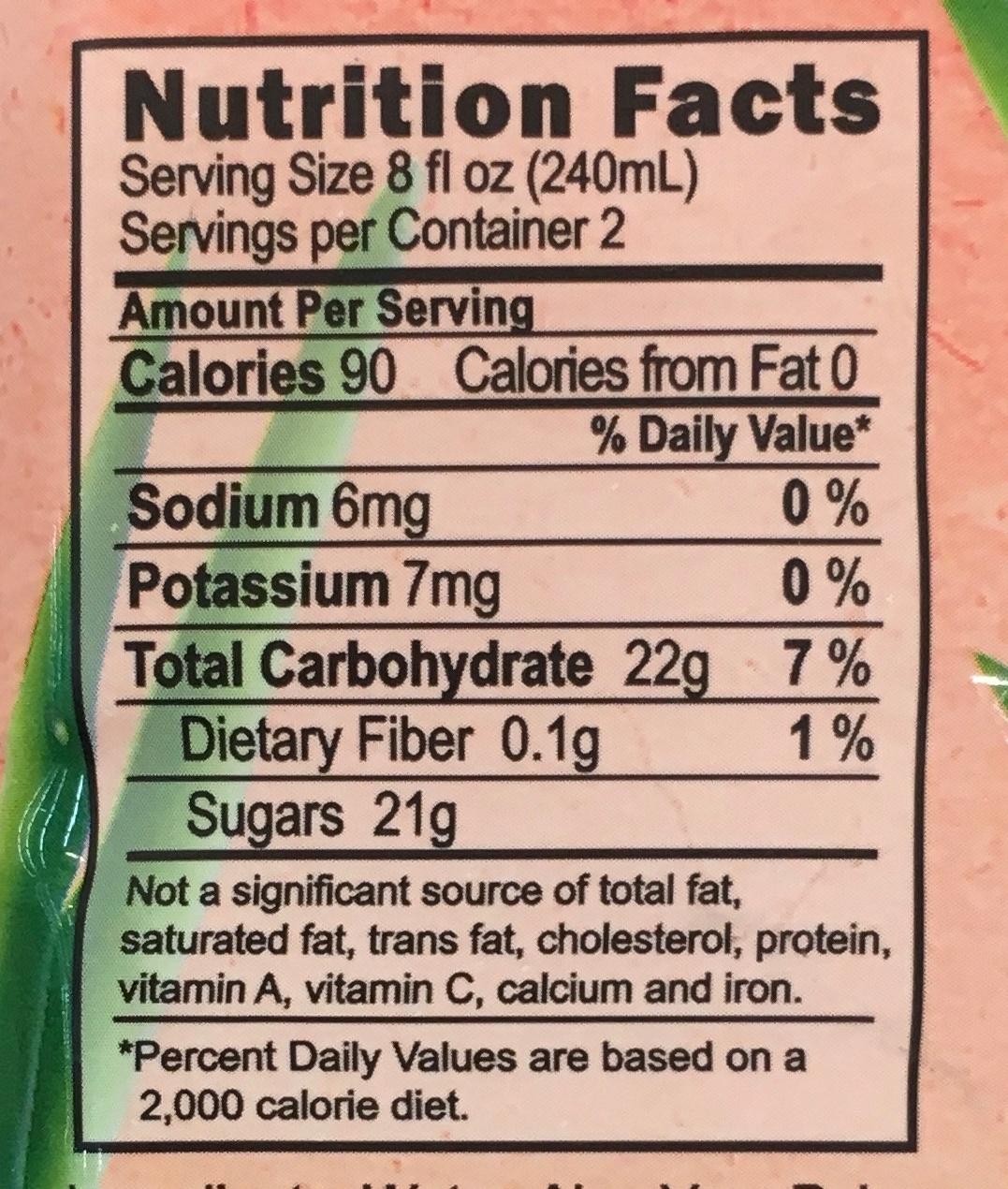 Watermelon Aloe - Nutrition facts