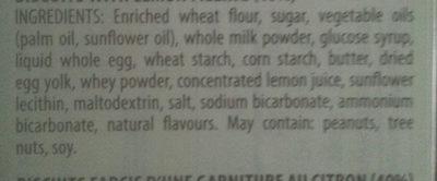 Biscuits with lemon filling pastries - Ingredients - en