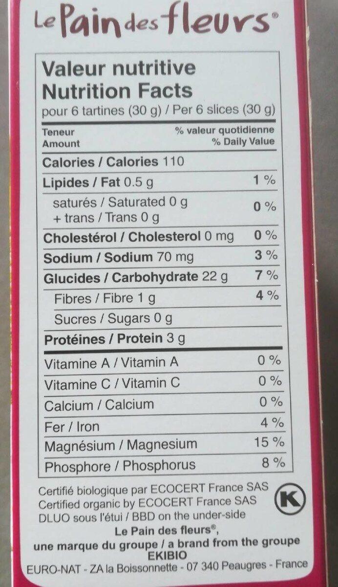 Tartines multi-cereales - Informations nutritionnelles - fr