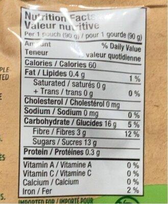 Compote de pomme - Informations nutritionnelles - en