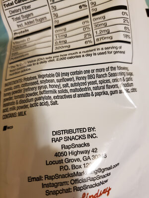 Barbaque Chips with Ranch - Ingredients