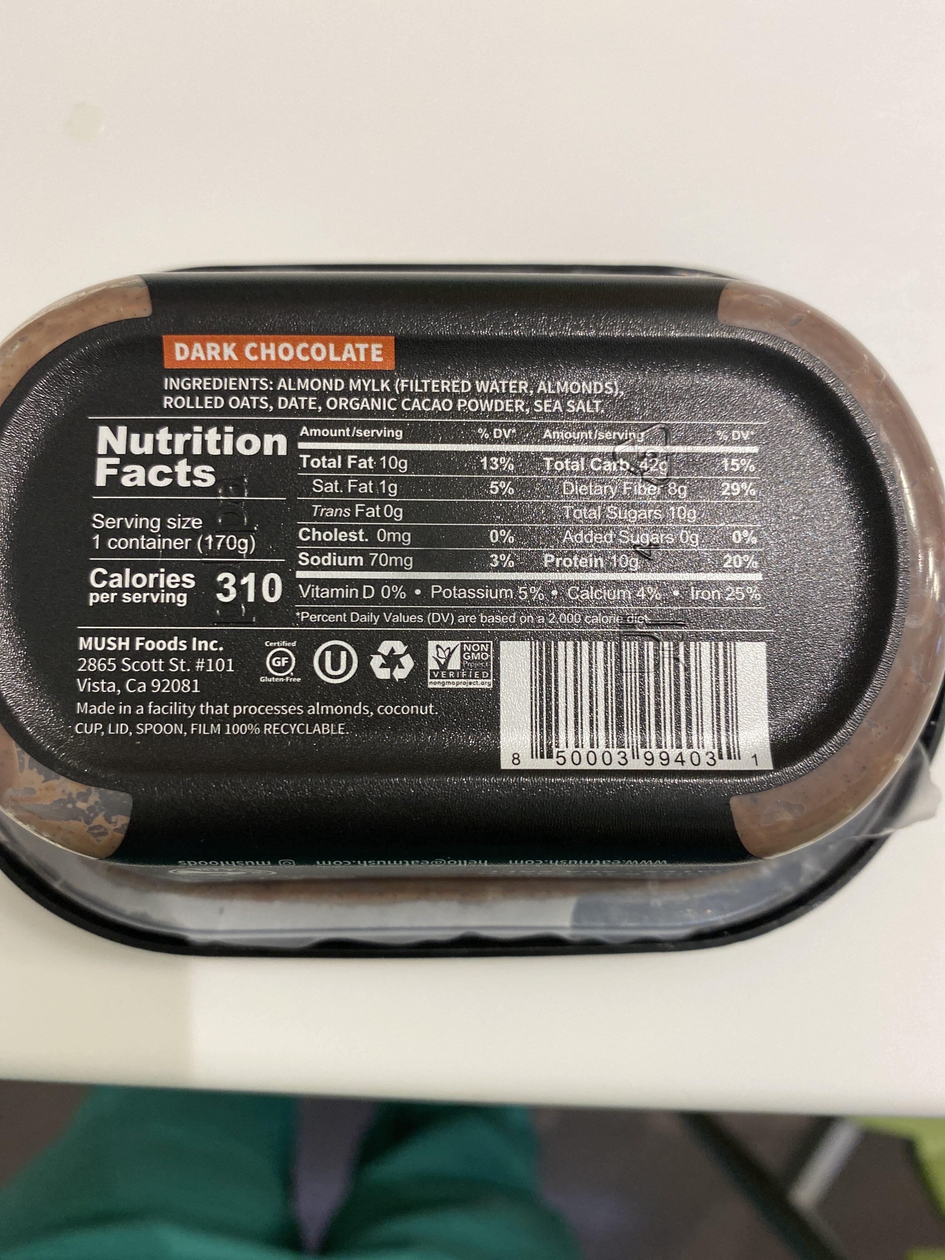 Mush overnight oats - Nutrition facts - en