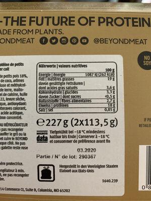 Beyond Burger - Plant-based patties - Nährwertangaben - de