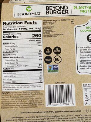 Plant based patties - Nutrition facts - en