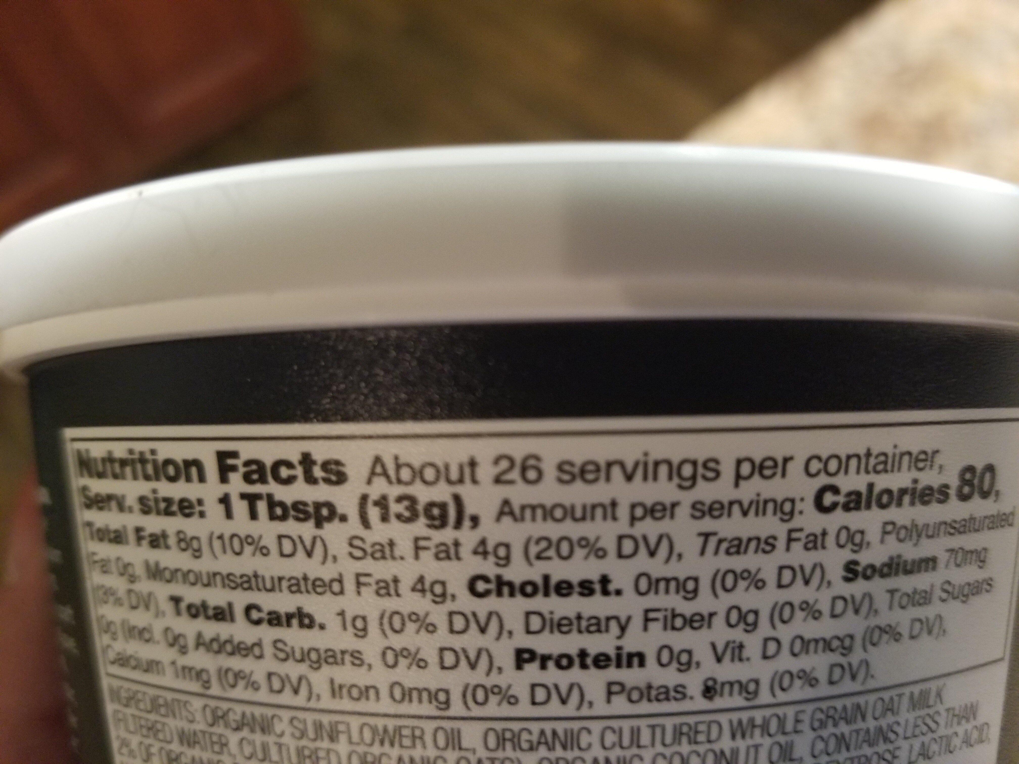 Hint of sea salt cultured vegan oat milk butter - Nutrition facts - en