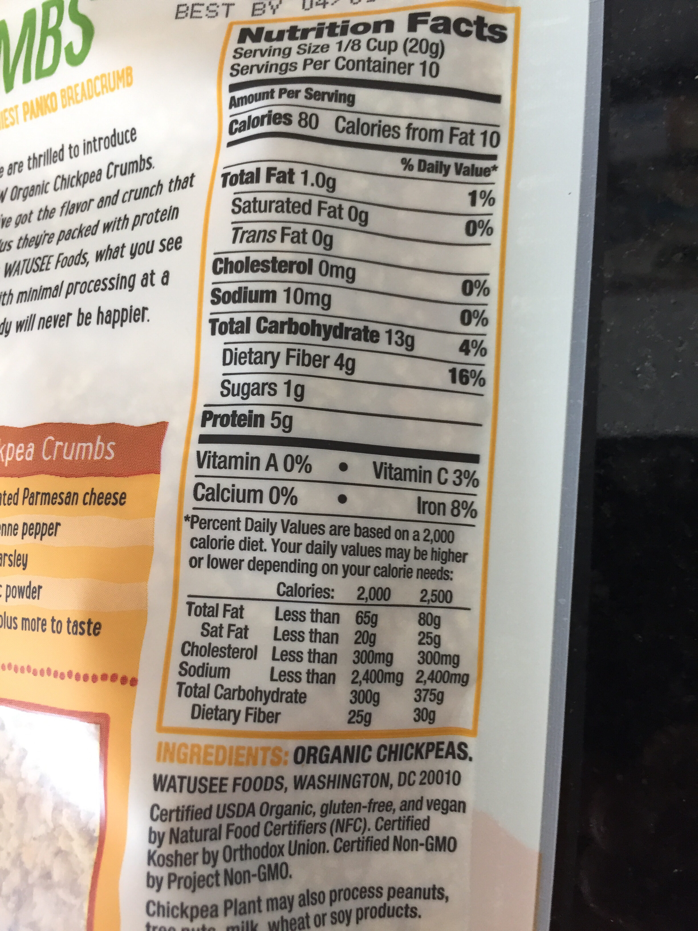 Chickpea crumbs, plain - Nutrition facts - en