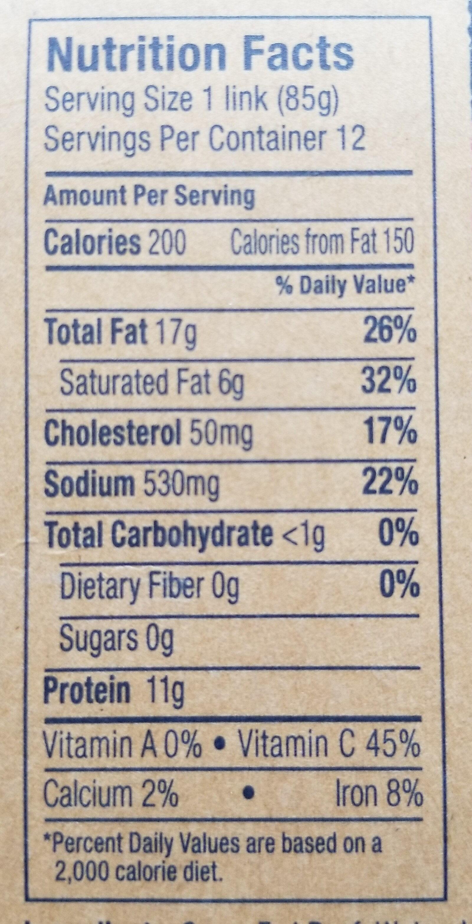 100% Grass-Fed Beef Polish Sausage - Voedingswaarden - en