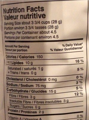 Popcorn - Nutrition facts