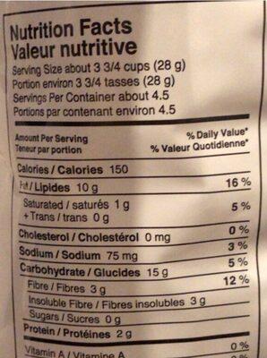 Popcorn - Nutrition facts - fr