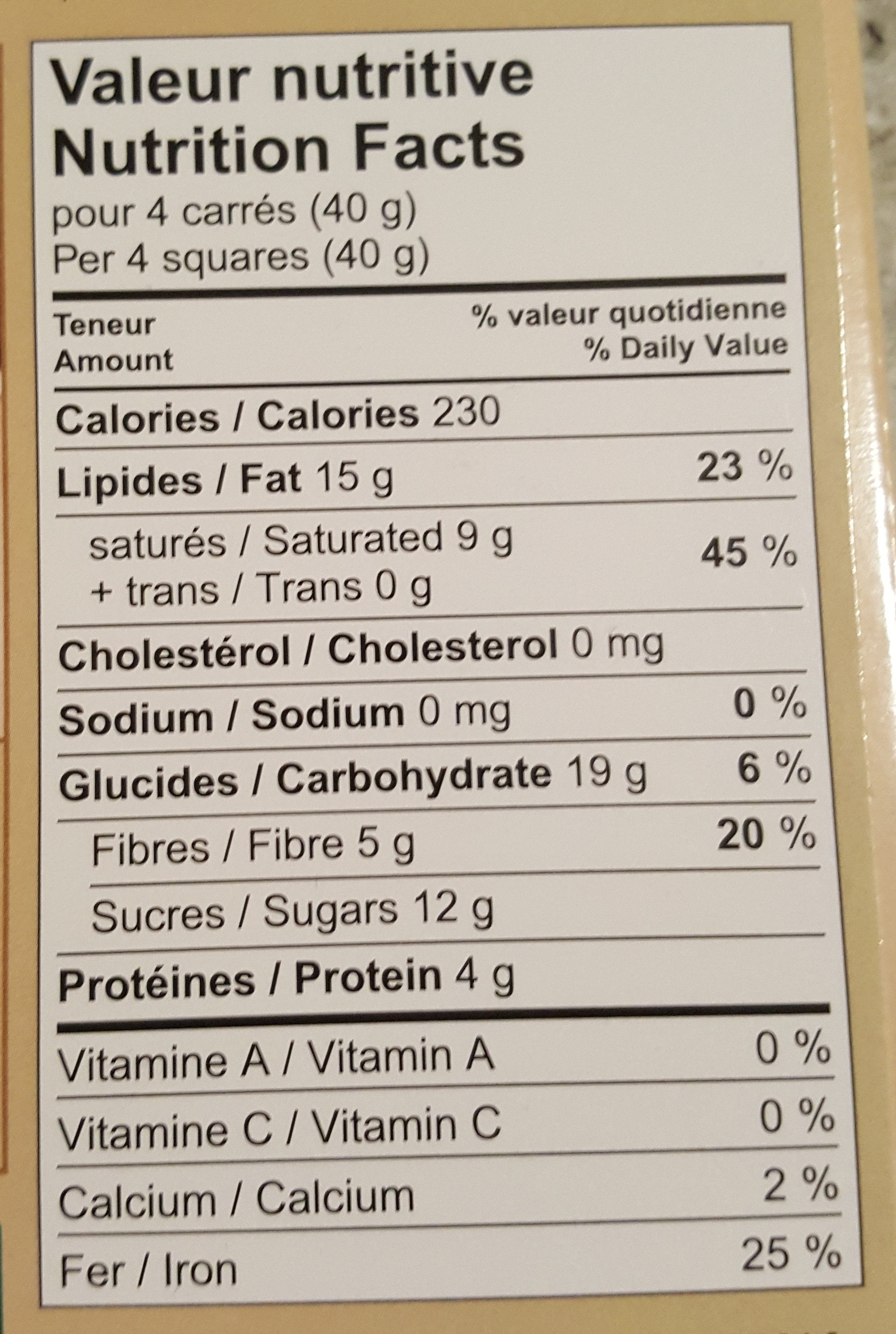 Chocolat noir biologique équitable - Nutrition facts - fr