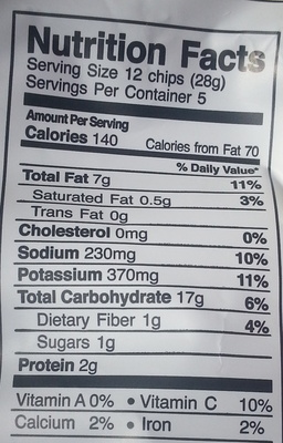 Kettle cooked potato chips - Nutrition facts - en