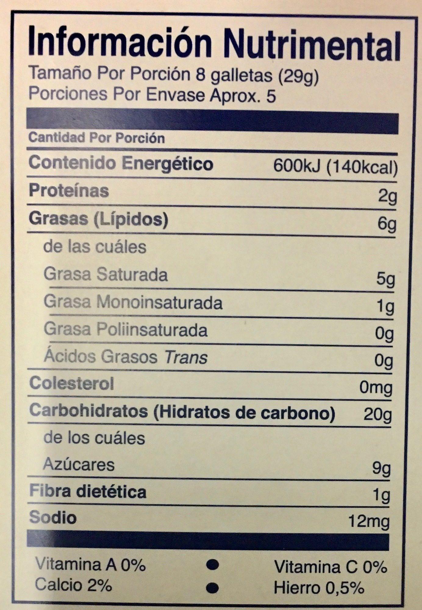 Figuras mac'ma - Voedingswaarden - es