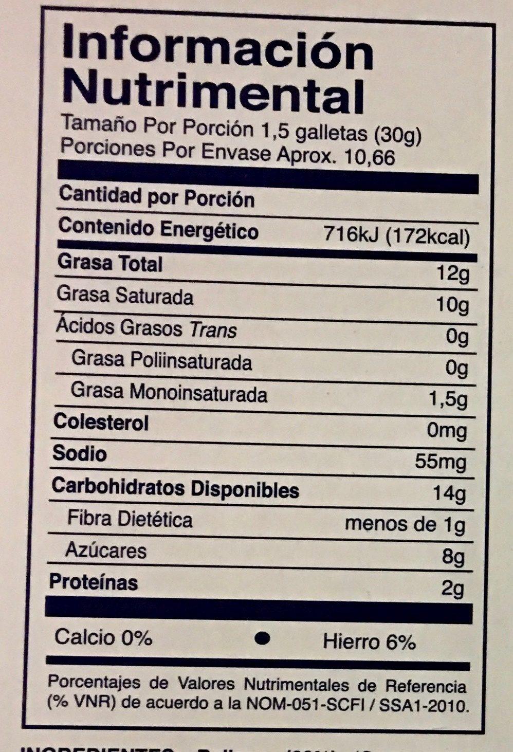 Grofenata - Informations nutritionnelles - es