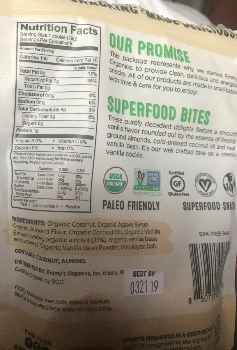 Coconut cookies vanilla - Informations nutritionnelles - en